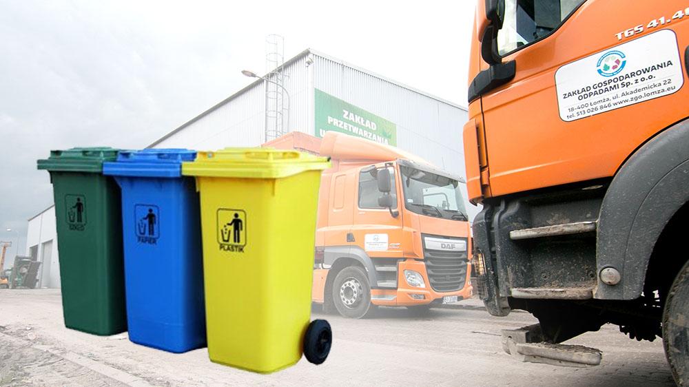 hala sortowni odpadów w Czartorii oraz ciężarówka stojąca przy hali