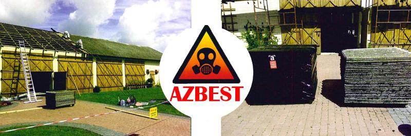 grafika przedstawiająca pracowników zdejmujących azbest z dachu oraz azbest posortowany na kostce brukowej